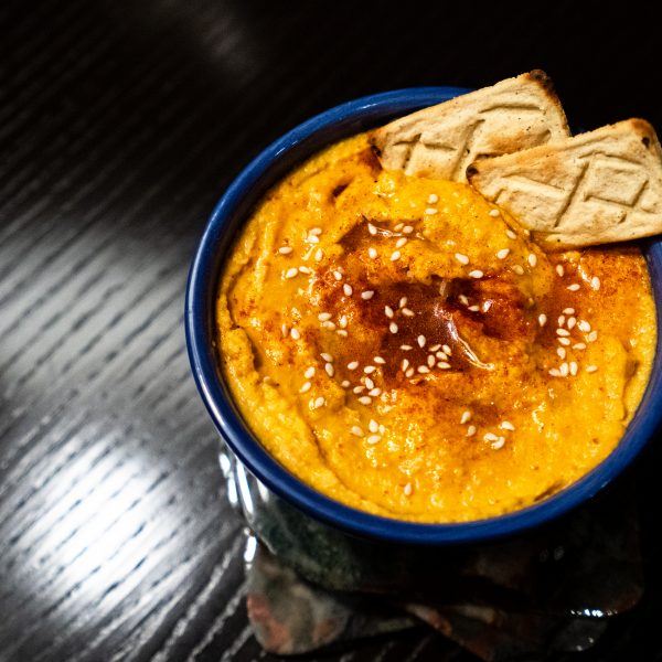 Homemade spicy hummus with Salmas crackers